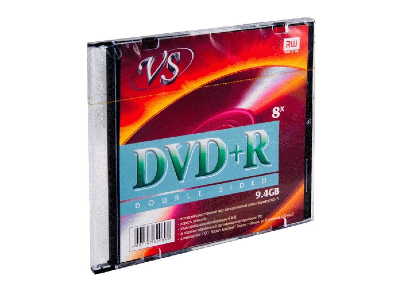 Диск записываемый DVD+R disk VS 16X 9.4Gb Double Sided Slim