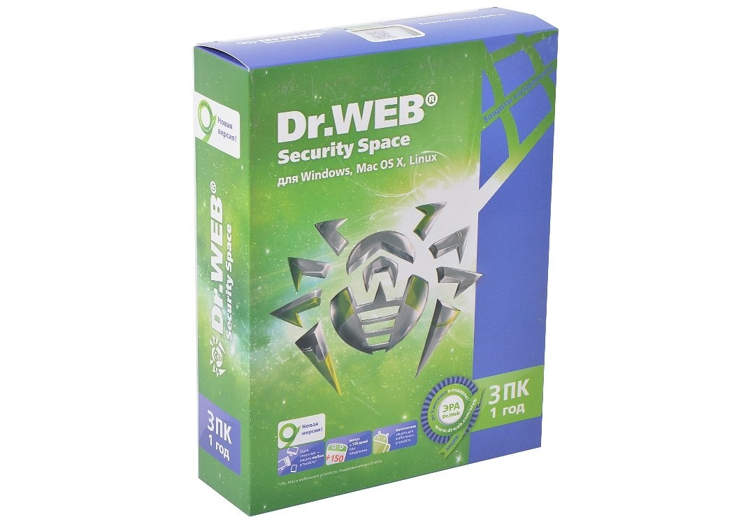 Антивирус Dr.WEB Security Space Pro 3ПК/ 1год (AHW-B-12M-3-A2)